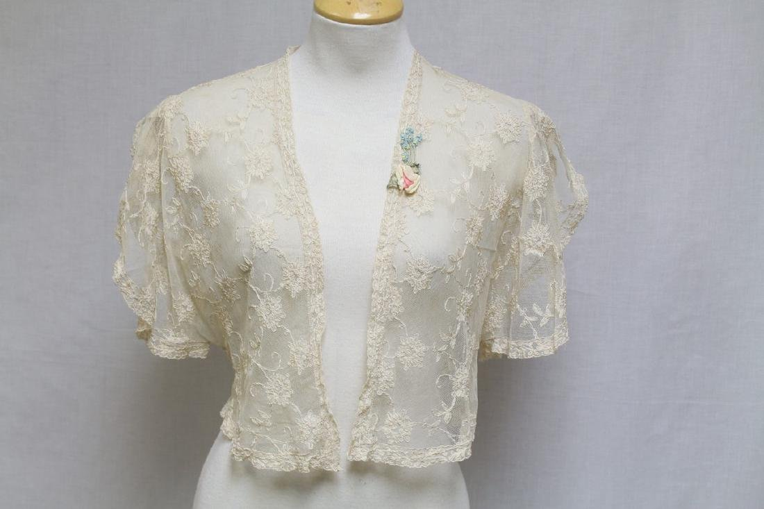 Vintage 1930s Tambour Lace Bed Jacket