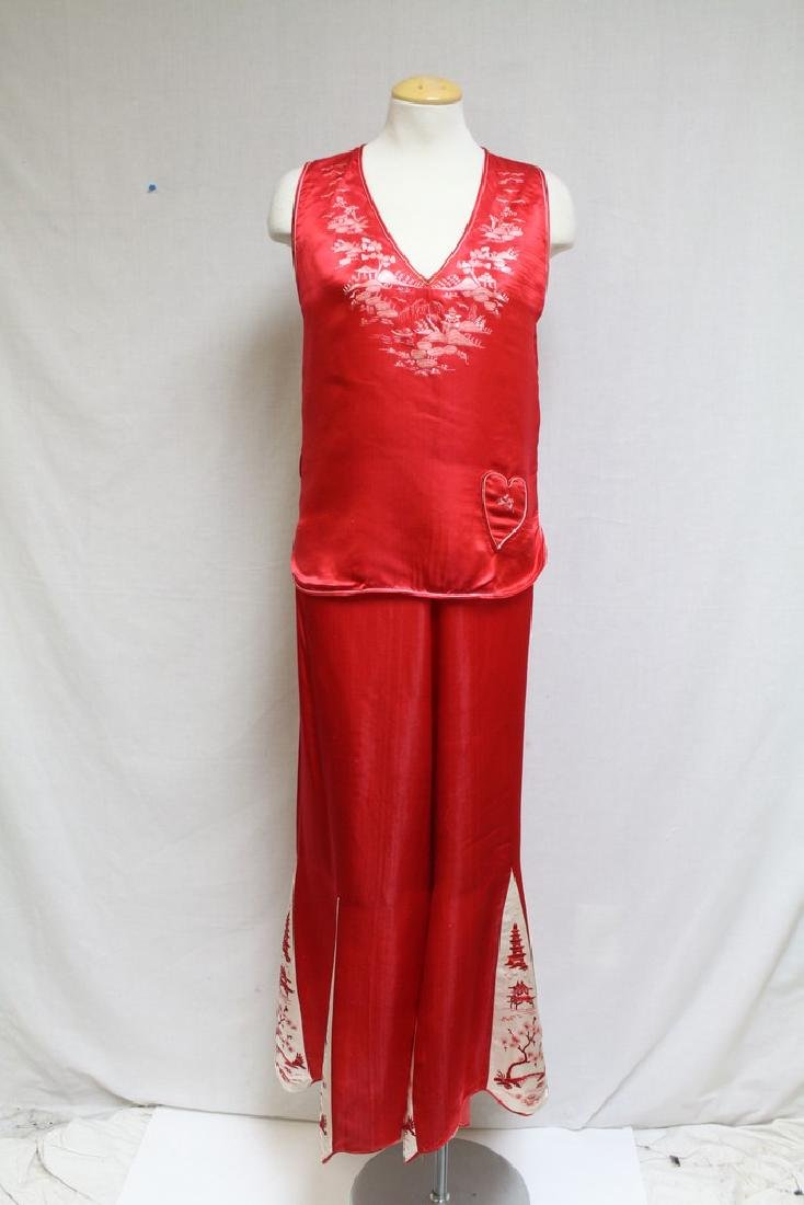 Vintage 1920s Red Silk Satin Beach Pajamas