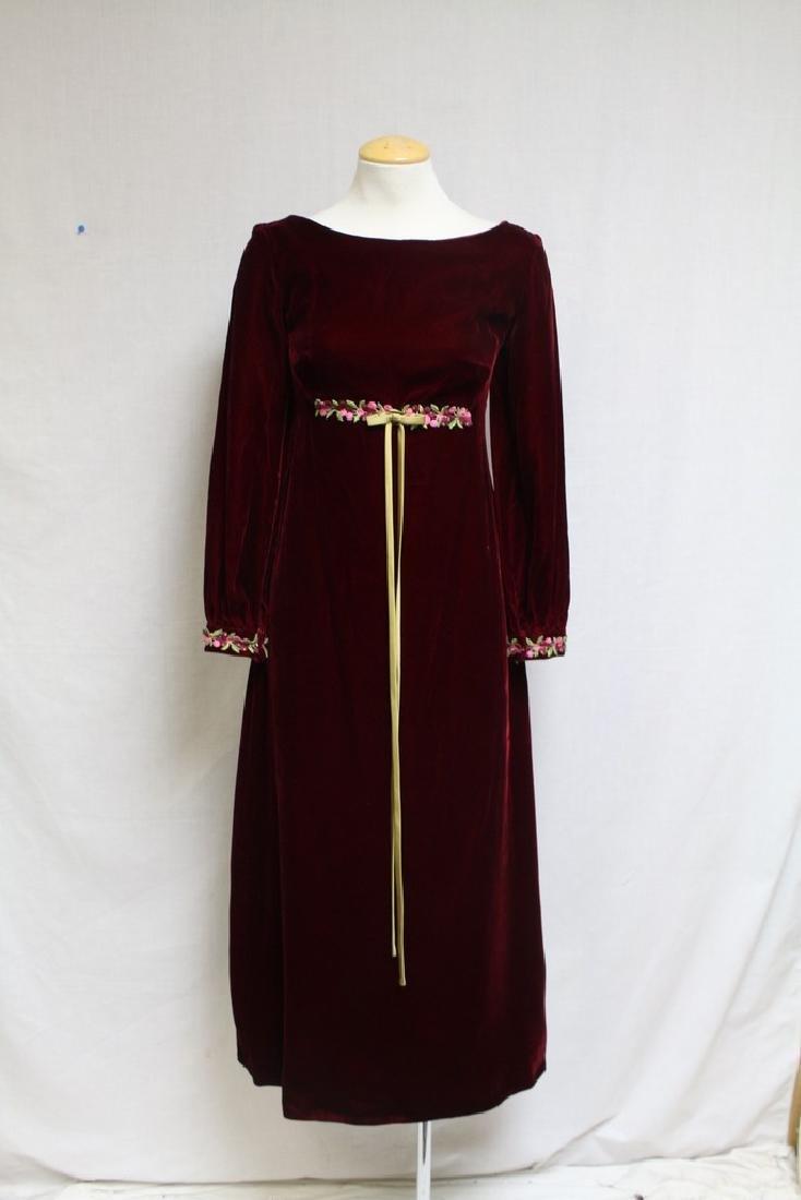 Vintage 1970's Red Velvet Long Dress