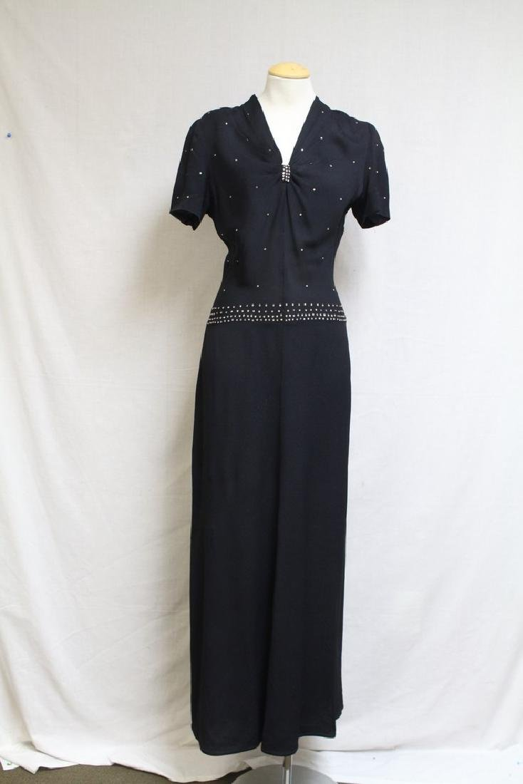 Vintage 1940s Black Rhinestone Evening Dress