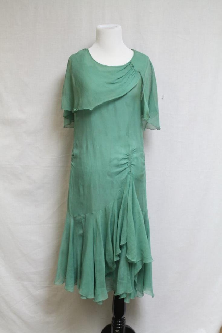 Vintage 1920's Green Chiffon Dress