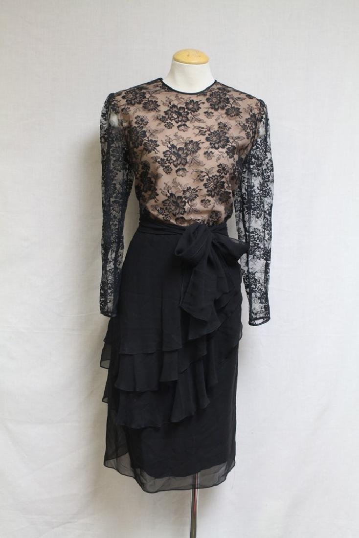 Vintage 1980's Hanae Mori Lace & Chiffon Dress