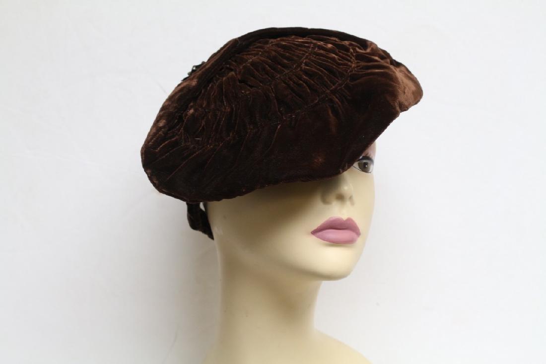 Vintage 1930's Brown Velvet Tilt Hat
