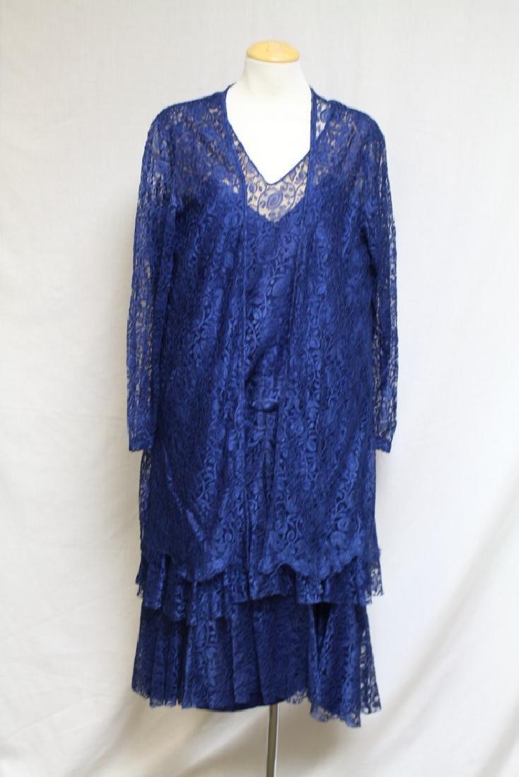 Vintage 1920s Blue Lace Dress & Jacket
