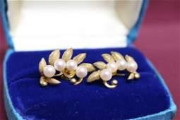Vintage 1950s 14K Gold  Pearl Earrings