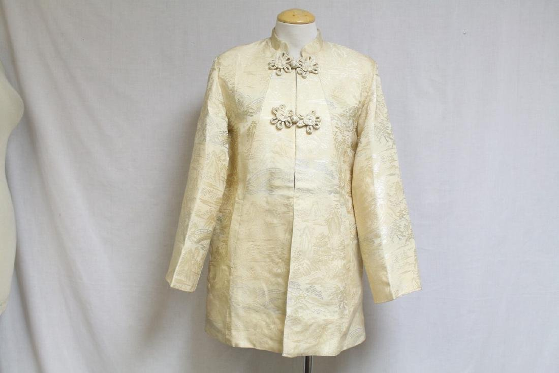 Vintage 1960's Ivory Brocade Asian Jacket