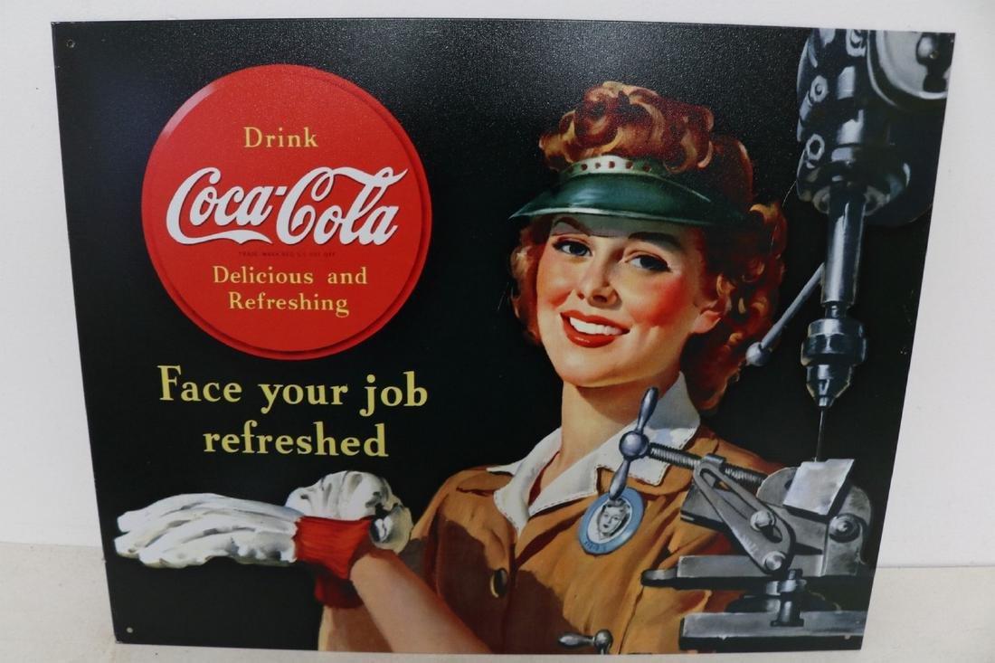 Coca-Cola female Machinist advertising sign
