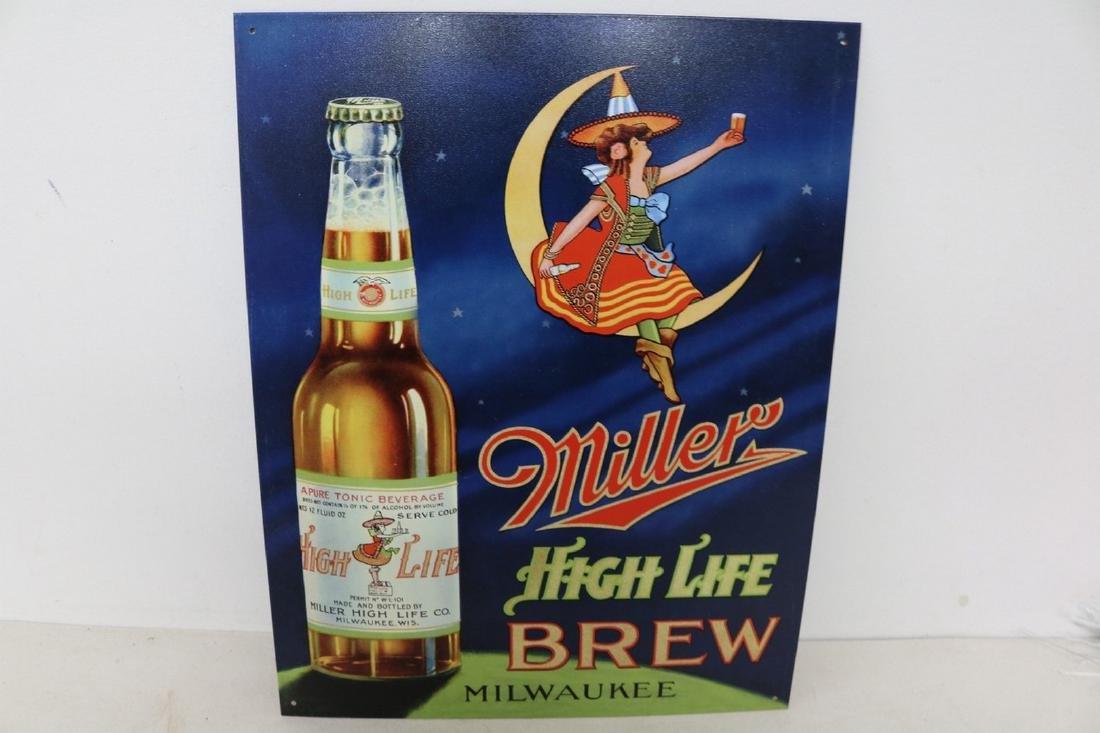 Miller High Life Brew, Tin Repro Sign