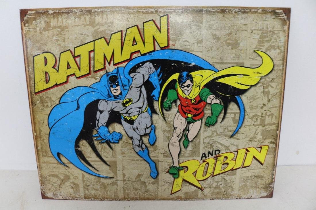 Batman & Robin Weathered, Tin Repro Sign
