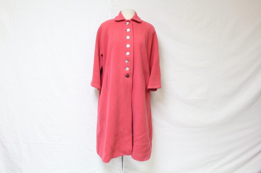 Vintage 1950s Coral Pink Wool Coat