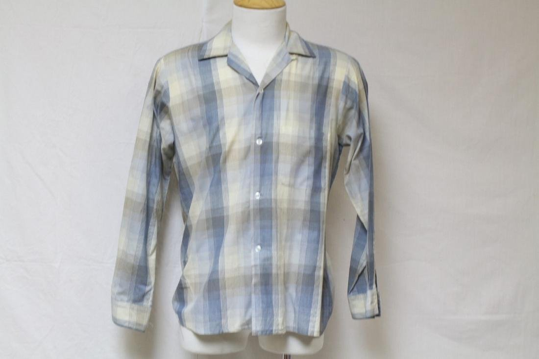 Vintage 1960s Men's Blue Plaid Shirt