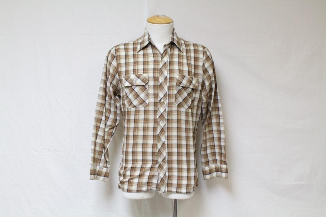 Vintage 1970's Men's Brown Plaid Shirt
