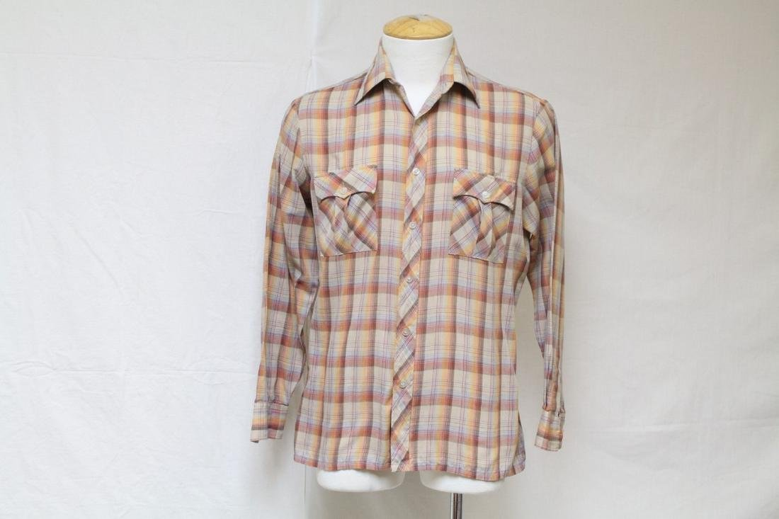 Vintage 1970's Men's Orange Plaid Shirt