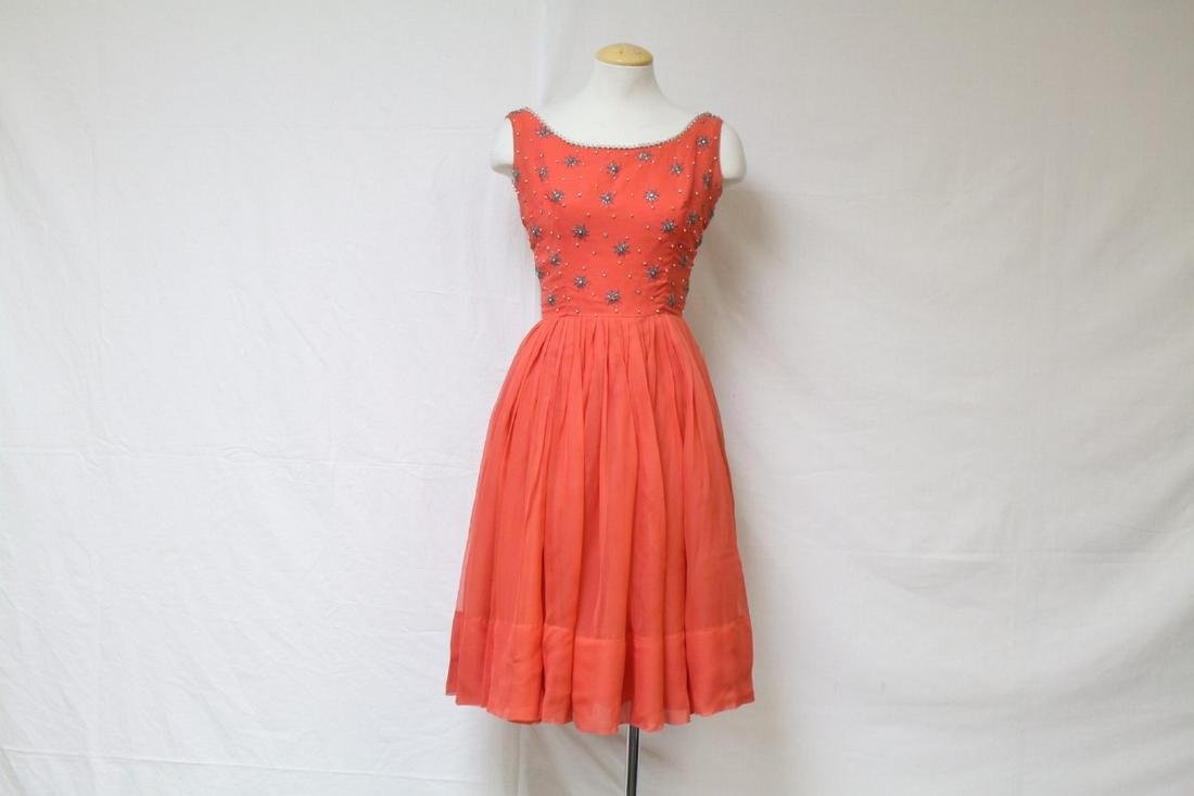 Vintage 1960s Red Chiffon Party Dress