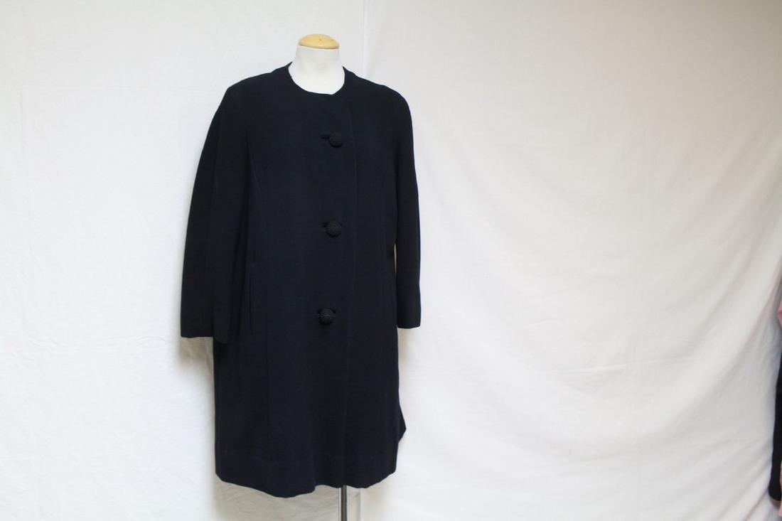 Vintage 1960s Black Wool Car Coat