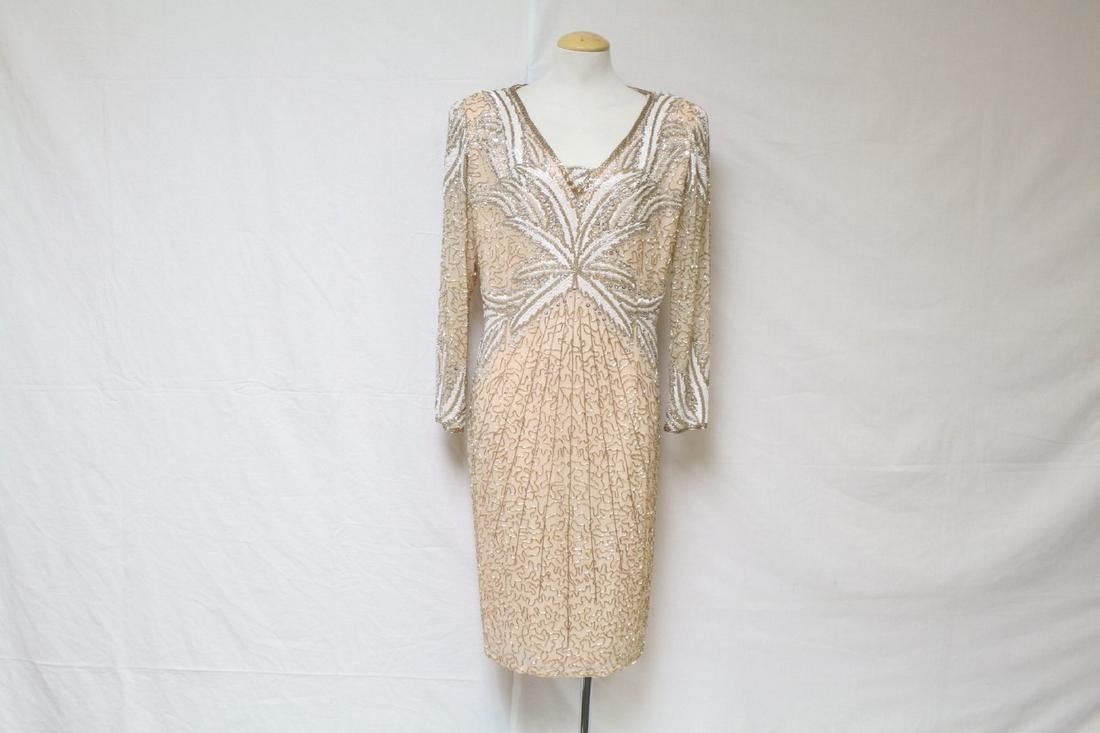 Vintage 1980s Pale Pink Beaded Silk Dress