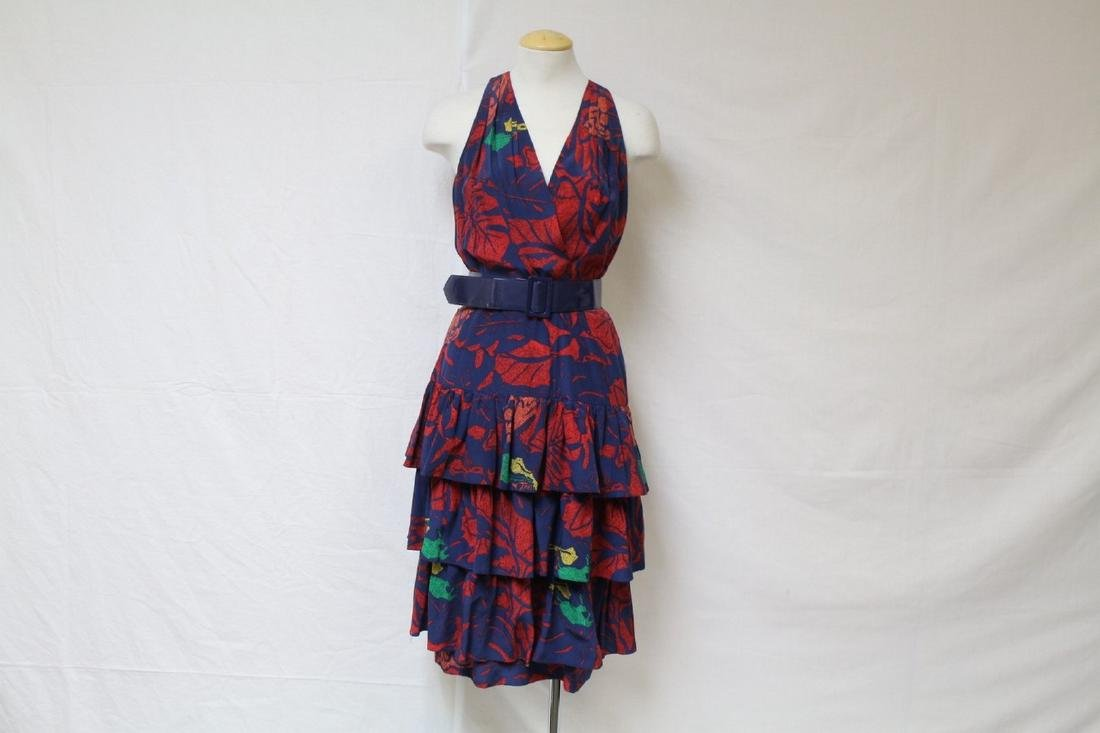 Vintage 1980s Silk Floral Ruffle Dress