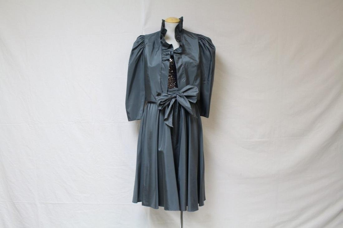 Vintage 1980s Grey Sequined Party Dress