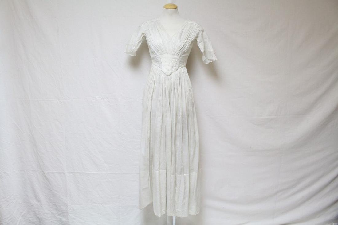 Antique 1800s Corseted White Gown