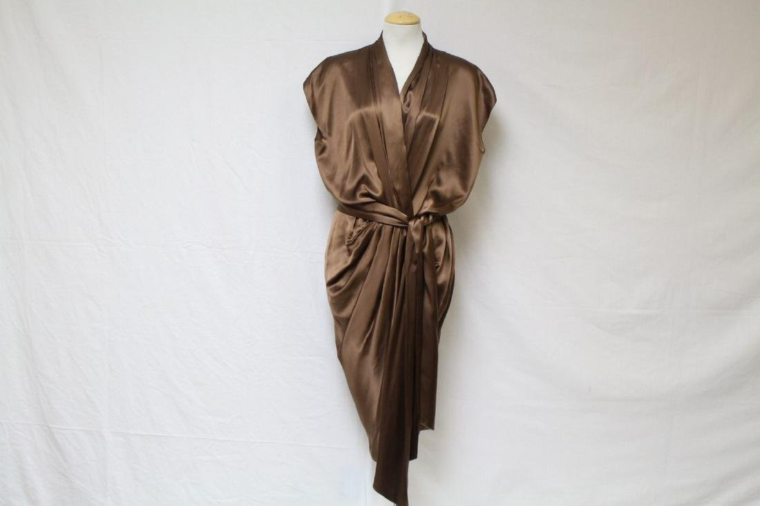 Vintage 2000s Lanvin Brown Silk Cocoon Dress