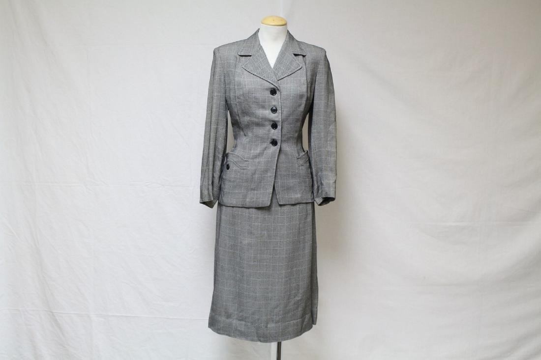 Vintage 1940s Joselli Checkered Skirt Suit