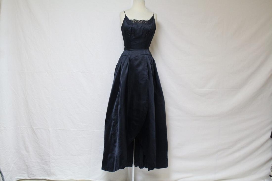 Vintage 1950s Black Silk Satin Ball Gown