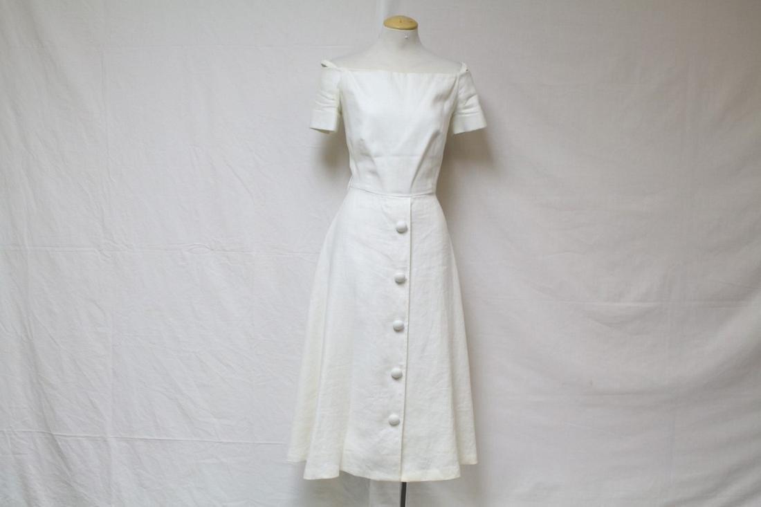 Vintage 1980s Scaasi Ivory Linen Dress