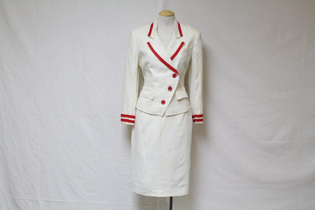 Vintage 1980's Red & White Linen Skirt Suit
