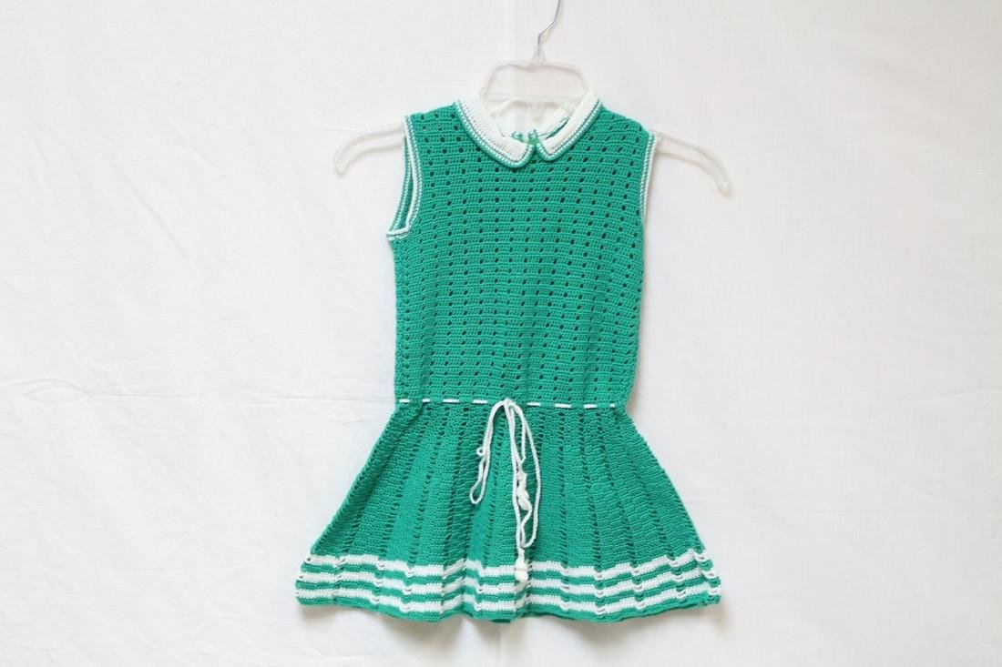 Vintage 1960s Girls Green Knit Dress