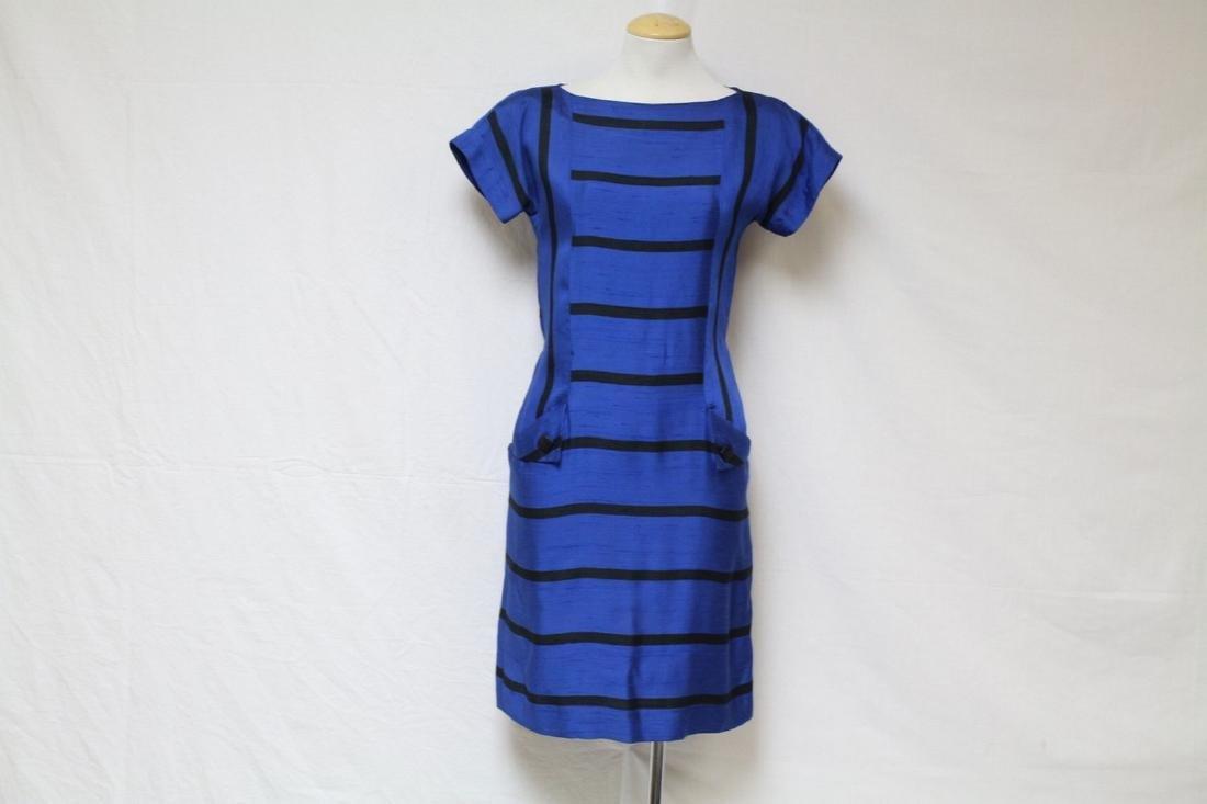 Vintage 1980's Black & Blue Striped Dress