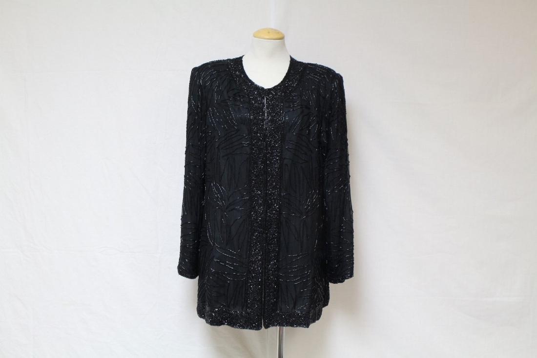 Vintage 1980s Black Beaded Silk Jacket