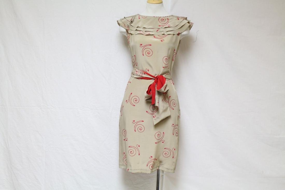 Vintage 1980's Beige & Red Silk Printed Dress