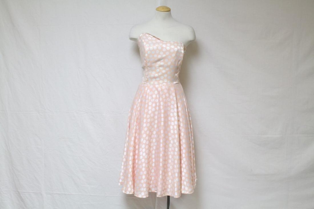 Vintage 1980s Peach & White Polka Dot Dress