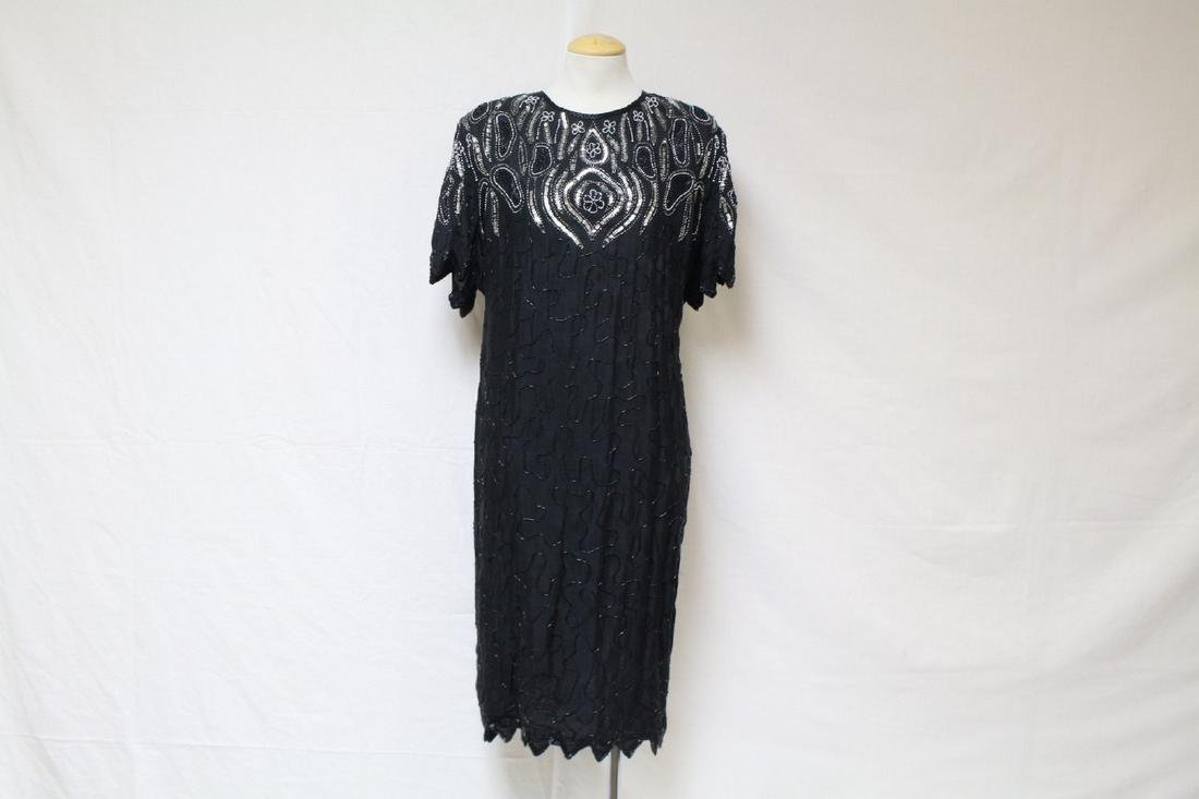 Vintage 1980's Black Beaded Silk Dress