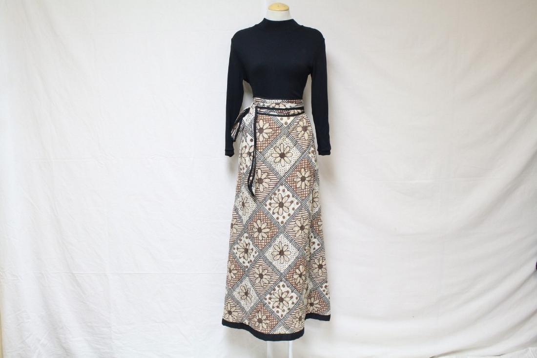 Vintage 1970's Black & Brown Floral Maxi Dress