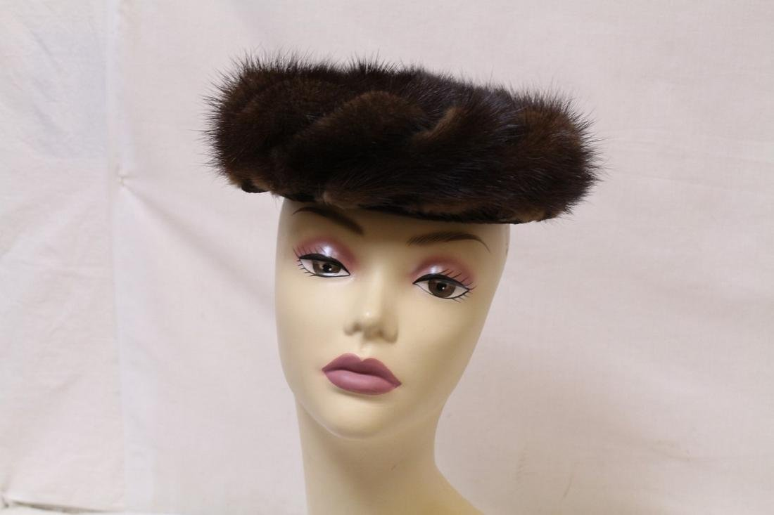 Vintage 1960s Brown Mink Fur Hat