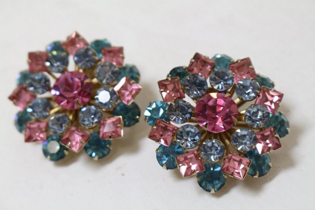 Vintage 1960s Pink & Blue Rhinestone Earrings