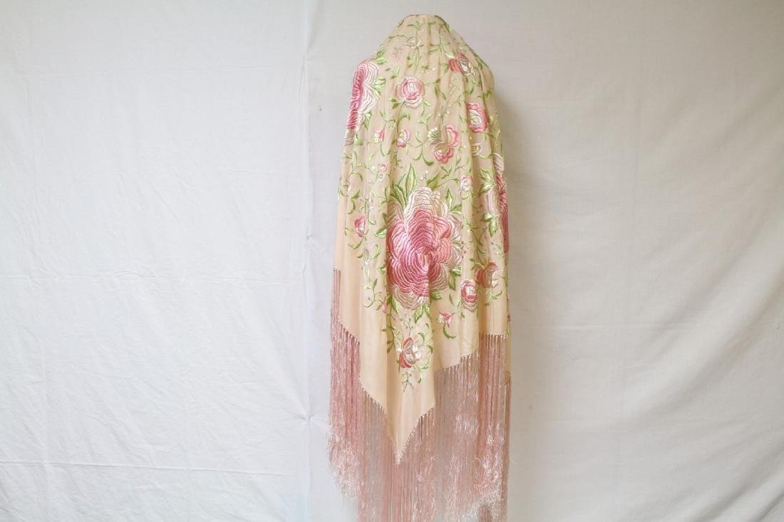 Vintage 1920's Pink Silk Piano Shawl