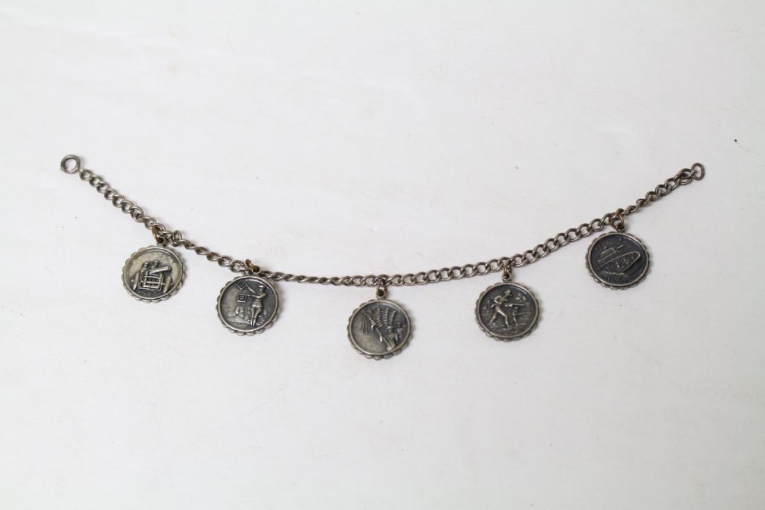 Antique WWI Sterling Silver Charm Bracelet