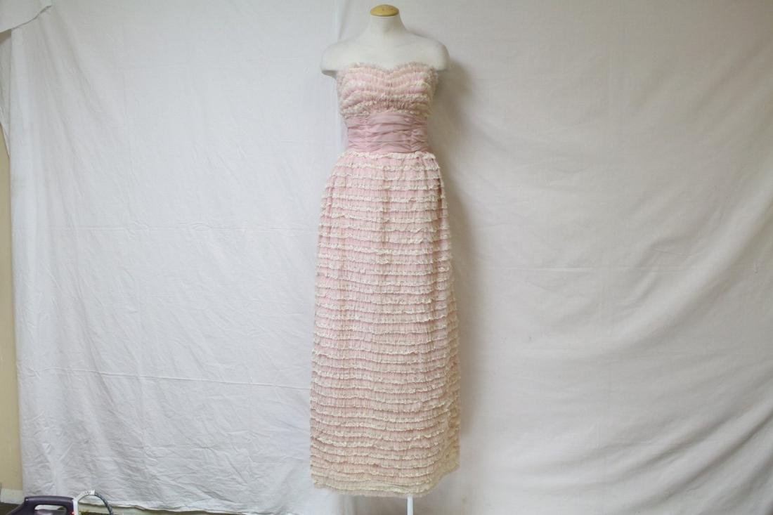 Vintage 1960s Pink Ruffled Prom Dress