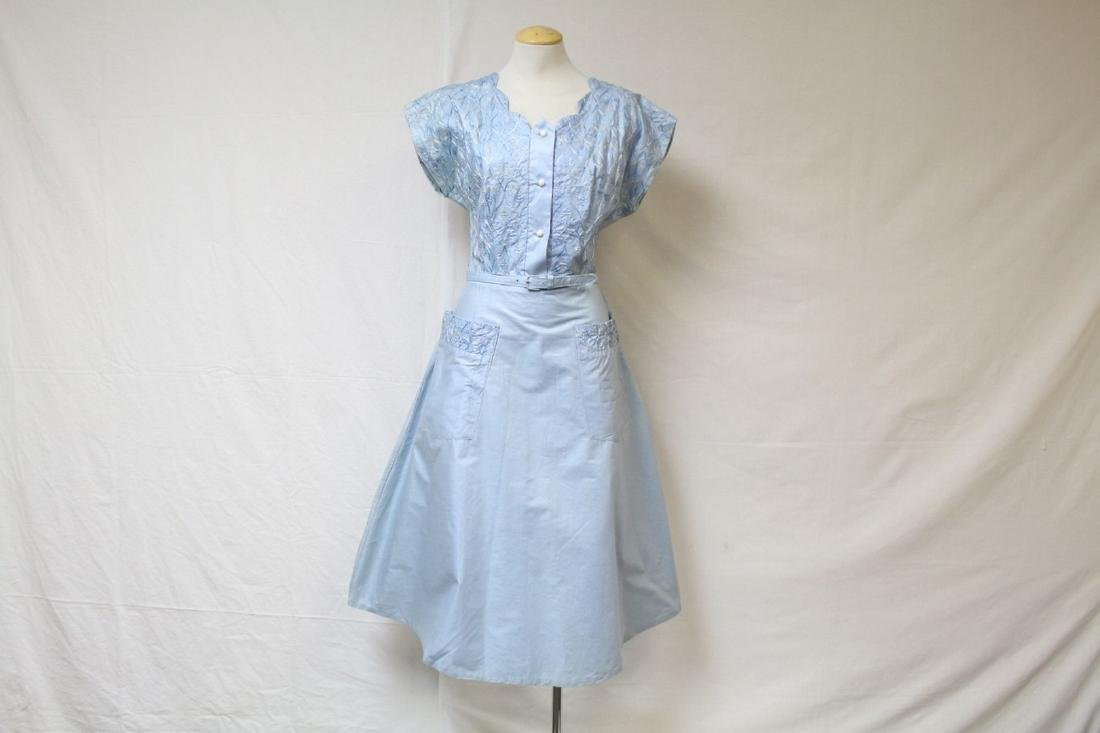 Vintage 1950's Blue Embroidered Day Dress