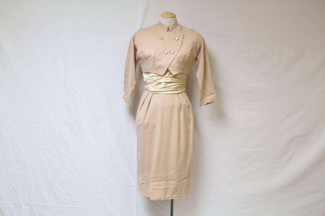 Vintage 1960s Beige Wool & Satin Dress