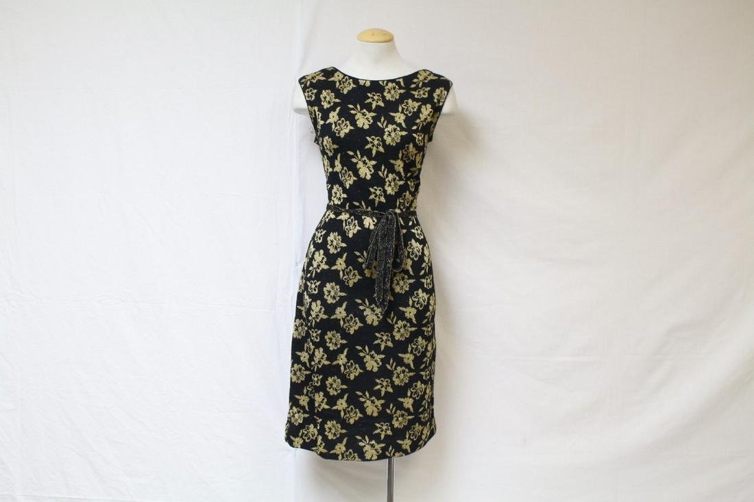 Vintage 1960s Black & Gold Knit Dress