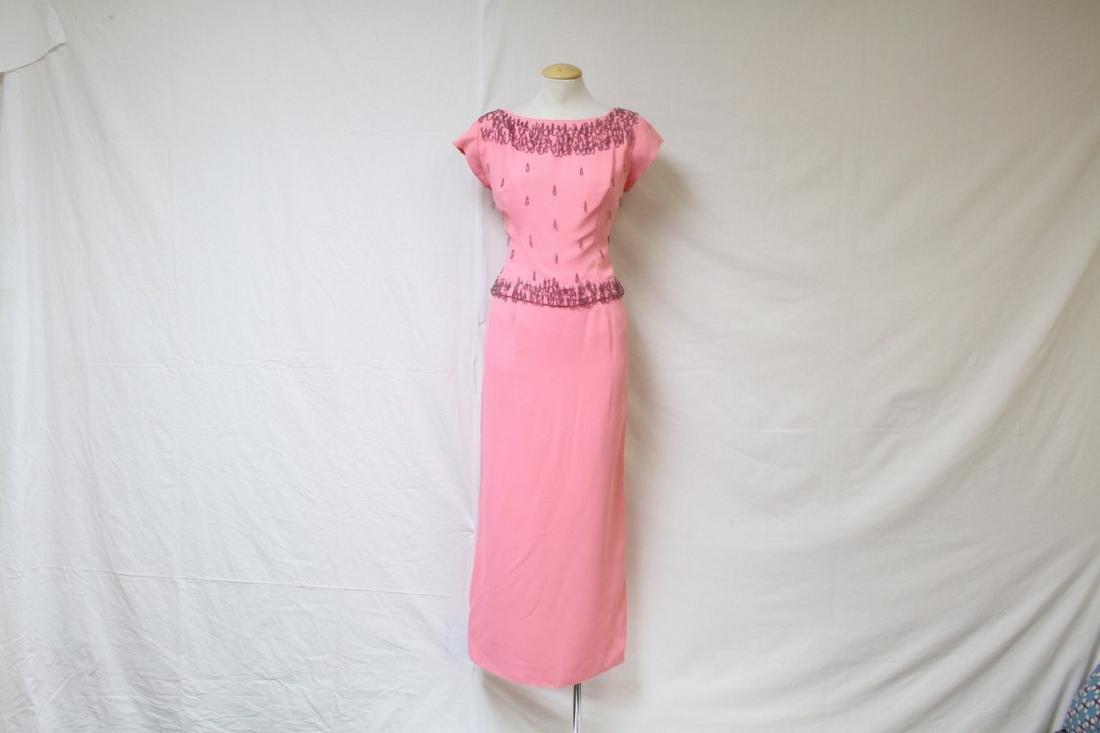 Vintage 1960s Hot Pink Beaded Dress