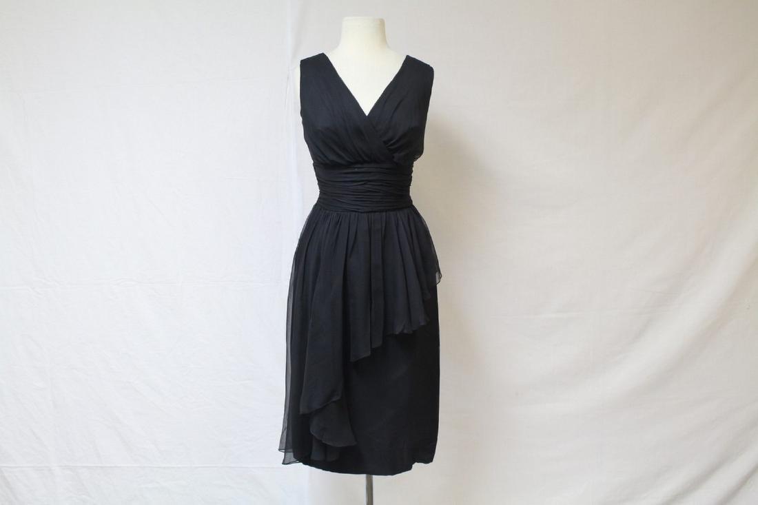 Vintage 1960s Black Chiffon Dress