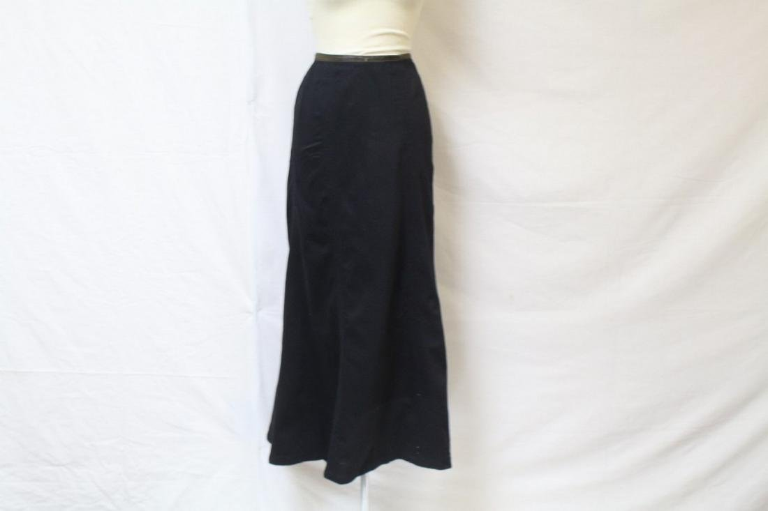 Antique Victorian Black Wool Bustle Skirt