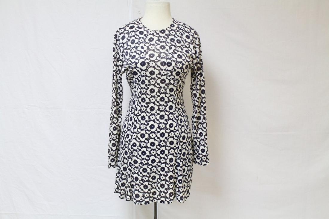 Vintage 1960s Black & White Floral Mini Dress