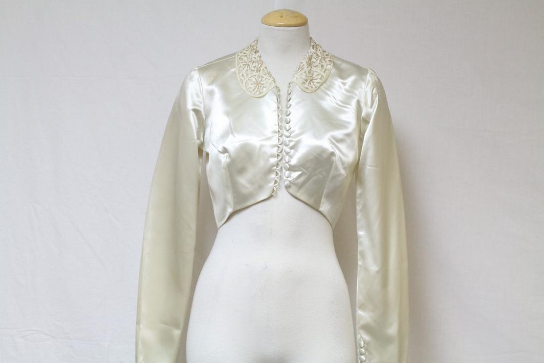 Vintage 1950s Ivory Satin Bolero Jacket