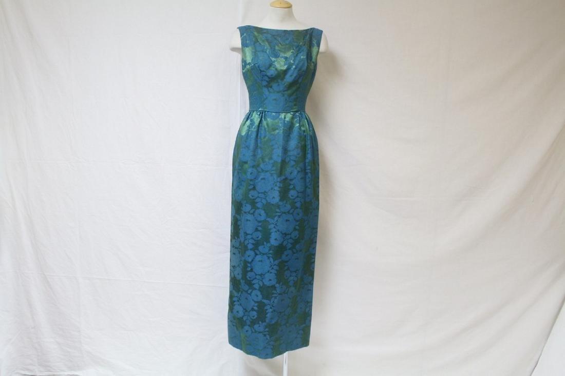 Vintage 1960s Best & Co Green Brocade Gown