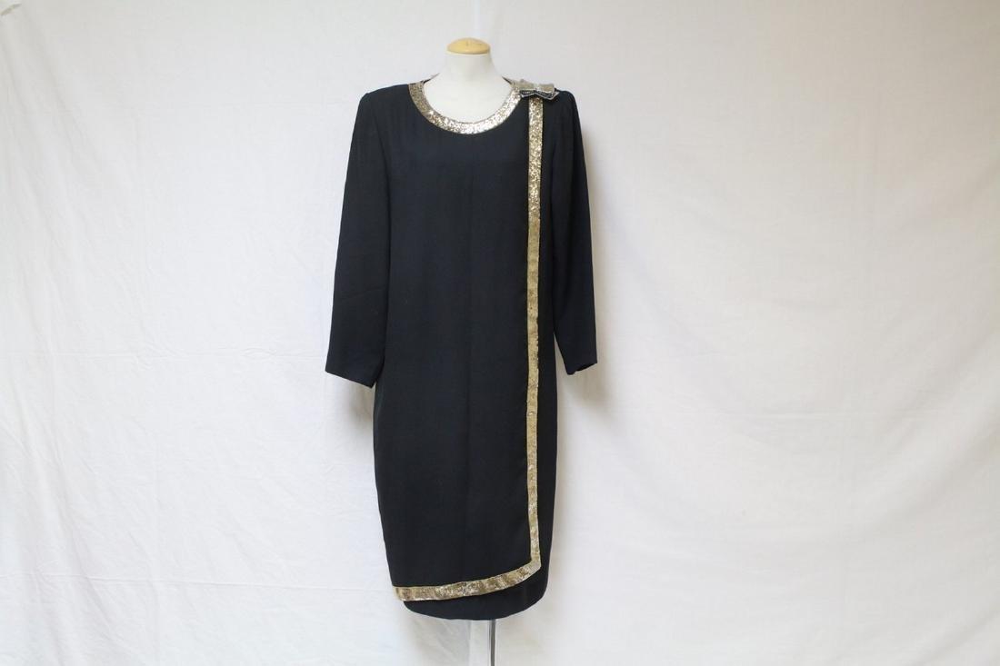 Vintage 1980's Jack Bryan Sequin Trim Dress